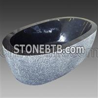 absolute black rocky outside granite bathtub 31