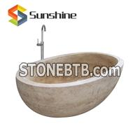 Natural Beige Travertine Oval Bathtub