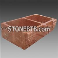 Coral Red marble kitchen sink
