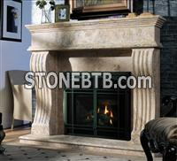 FP017 Beige travertine Chinese Handcarved Marble mantel Fireplace Surround