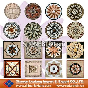 Decorative waterjet marble mosaic medallion