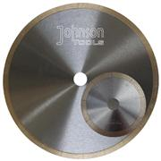 Sintered saw blade with laser cut J slot