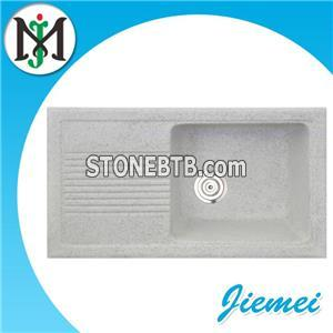 Factory Manufacturing ODM Design Round Rectangular Hotel Natural Stone Sink Made By Silica Sand And Resin With Faucet Tap Strainer Pipe Accessories