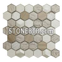 Hexagon Glass Mix Stone Mosaic Tile For Wall And Floor