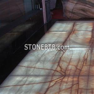 Book Match Marble Onyx Tiles with Light