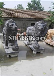 Black Marble Fu Dog Statue Carving Stone