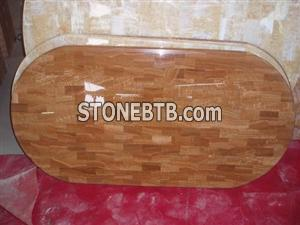 China Brown Oval Marble Medallion Mosaic Table Top