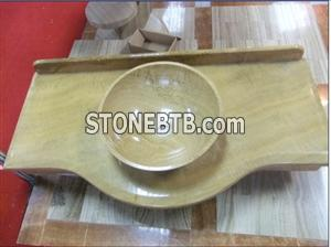 Yellow Round Marble Countertop Sink Vessel