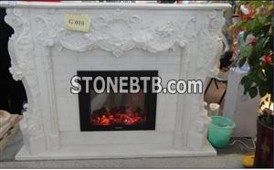 Indoor Hand Carving White Marble Fireplace Picture