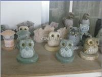Natural Marble Garden Stone Owl Carving