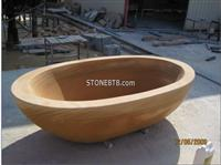 Oval Beige Wooden Marble Freestanding Bathtubs