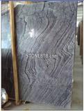 Chinese Antiques Black Wooden Wave Marble