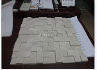 Polished Rose Beige Marble 3D Mosaic Tiles