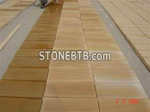 Polished Outdoor Yellow Color Wood Sandstone Tile