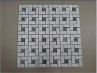 Cream Marfil & Dark Emperador Mosaic Floor Tile Pattern