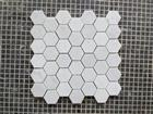 White hexagonal polished marble swimming pool mosaic
