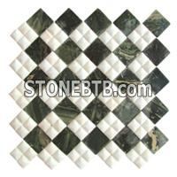 Green and White Mosaic Pattern Tile