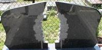 double chinese black granite gravestone