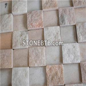 China 30*300mm Pink Onyx And White Marble Penny Round Pattern Mosaic Tiles