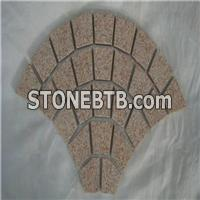 China Fan Pattern Stone Yellow G350 Granite Cobblestone On Mesh For Driveway Paver