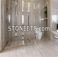 Elegant polished grey wooden veins marble tiles