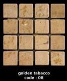 golden travertine of mosaic tiles