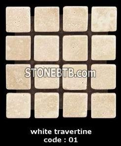 white travertine of mosaic tiles