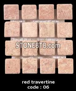 red travertine of mosaic tiles