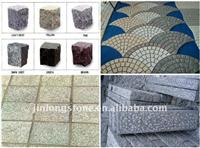 grey granite road paving cobbles