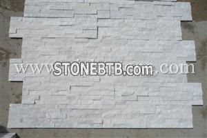 white quartzite nature culture stone  Stacked wall Panels