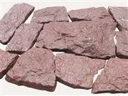 Porphyry Red, natural, split face cobbles