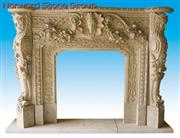 golden marble carving fireplace