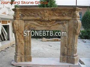 brown marble carving fireplace
