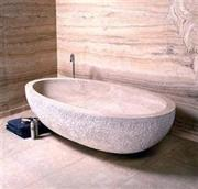 Trvaetine tiles, travertine carved bath tub