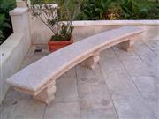 Curved Bench-Red Granite