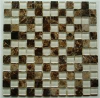 Dark Emperador & Glass Mixed Mosaics