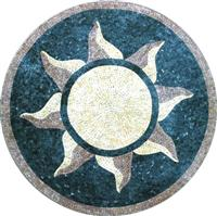 Round Carpet Mosaics With Sun