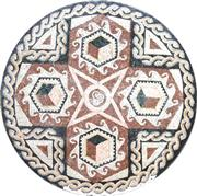 Round Carpet Mosaics With Red Cross