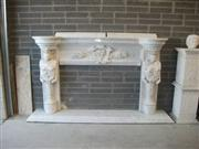 Hand Carved White Anatolian Marble Fireplace (16th