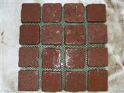 Red mesh cubic stone square