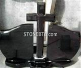 Black Tombstone headstone  with Cross