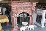 Red Color  Marble  Fireplace