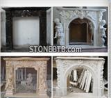 Hot Desiign White Carving Marble  Fireplace Stone