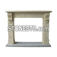 Granite And  Marble  Carved  Fireplace