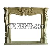 White Color Granite And  Marble  Carved  Fireplace