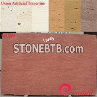 Red Artificial Travertine Slabs