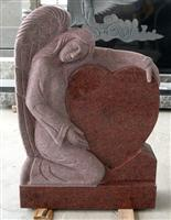 Red Granite Angel Headstone