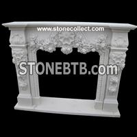 Pure White mable Fireplace Mantel with carved rose
