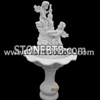 Pure white marble water fountain