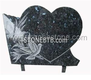 Blue pearl hearted line carving Memorial Plaque
